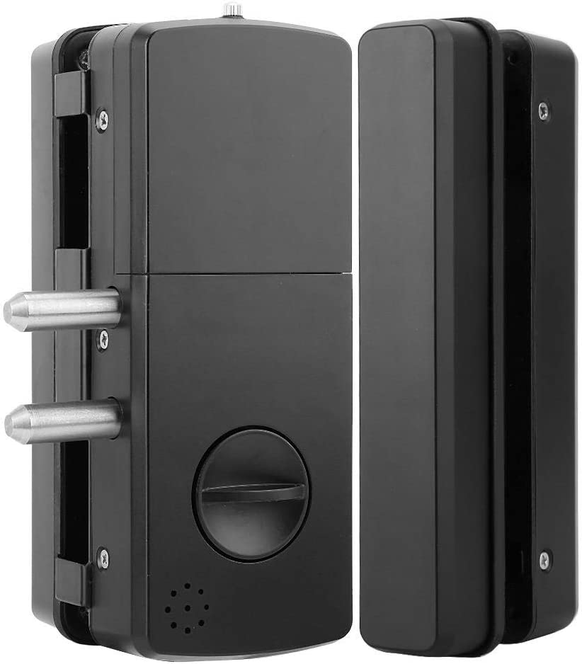 1# Glass Door Lock,Fingerprint Card Lock Fingerprint Password Card Lock Double Glass Door Lock Touch Keypad Smart Fingerprint Password Card Lock No Punching