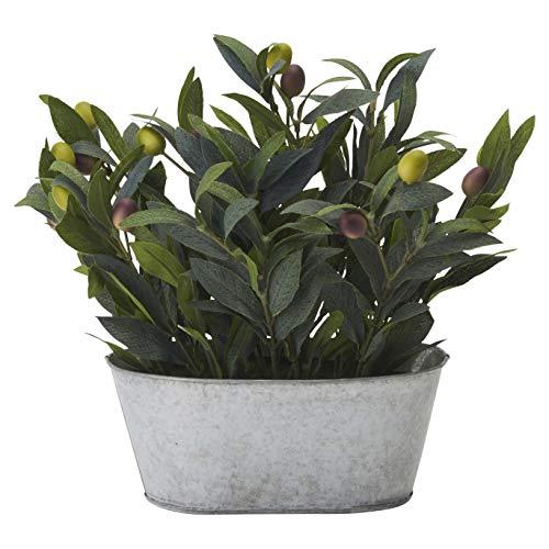 ドウシシャ 人工観葉植物 グリーン 約29.0cm オリーブ ブリキポット HAC-048