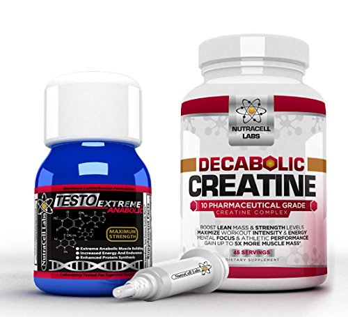 Nutracell Labs Anabolic Muscle Stack : Testo Extreme Anabolic & 10 Blend Decabolic Creatine - Strongest Legal Testosterone Booster/Creatine Powder