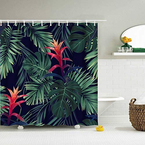 IcosaMro Tropical Shower Curtain for Bathroom with Hooks Jungle Leaves Decorative Long Cloth product image