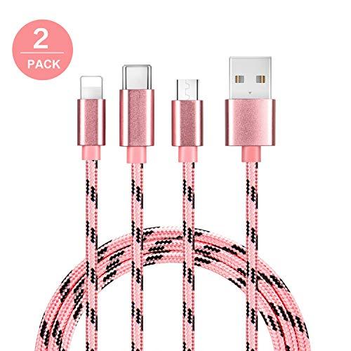 Bolatus 2Pack 1m Multi USB Kabel 3 in 1 USB Ladekabel Nylon Universal Mehrfach Ladegerät Kabel Handy Adapter Kabel mit Typ C Micro USB Kompatibel mit Smartphone, Tablets und mehr - Rosa