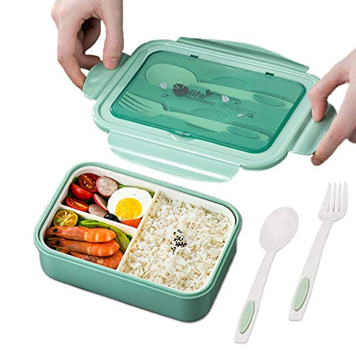 TWBEST Boîte à Déjeuner, en Plastique, Boîte à Repas Vert avec Trois Compartiments et des Couverts (Fourchette et cuillère), Boîte à Bento pour Enfants et Adultes