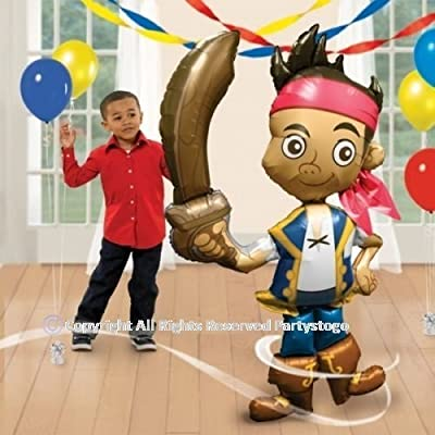 "Anagram Jake and The Neverland Pirates Birthday Party Balloon AIRWALKER 75"" 190CM Decorations Supplies Stands/Moves Around Huge"