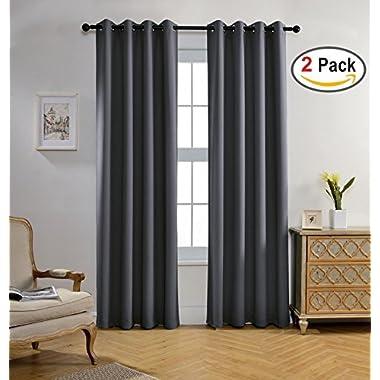 Miuco Blackout Curtains Room Darkening Textured Grommet Window Curtains Living Room 2 Panels 52x84 Inch Dark Grey