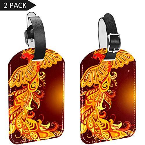 LORVIES Mythische Vogel Phoenix Bagage Tags Reizen Labels Tag Naam Kaarthouder voor Bagage Koffer Tas Rugzakken, 2 PCS