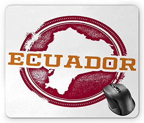 Ecuador Mauspad, Motiv: Grungy Travel Stamp Looking Politische Karte Südamerika-Druck, Dunkelorange, Himbeere und Weiß, Mauspad, 21,4 x 18 cm