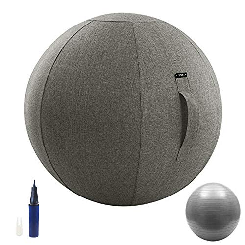 Joywell Sitzbal Büro Gymnastikball mit Bezug Bürostuhl Yoga Ball 65 cm Stuhl mit Cover Balance Stuhl Trainingsball Bezug Bürostuhl Grau