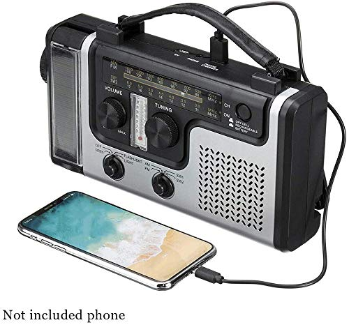 Zonne-handslinger radio, noodgevallen weer, radio op de Fm SW1 SW2 overlevingradio met led-zaklamp, mobiele telefoon oplader, thermometer, sos alarm en 1200 mA batterijzekering zwart-zilver