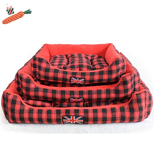 Enhome Hundebett für Katzen und Hunde mit Plüsch, Deluxe Rund in Gitter-Form Hundesofa Hundematte weichem rutschfest Katzenbett (45 * 40 cm,Rot)