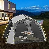 ML-Design LED Event Pavillon inkl. Beleuchtung mit Solarmodul und Fernbedienung, Seitenwände, Tragetasche, 3,5x3,5m, Weiß/Grau, wasserabweisend, UV-Schutz, Designer Partyzelt Gartenzelt Gartenpavillon