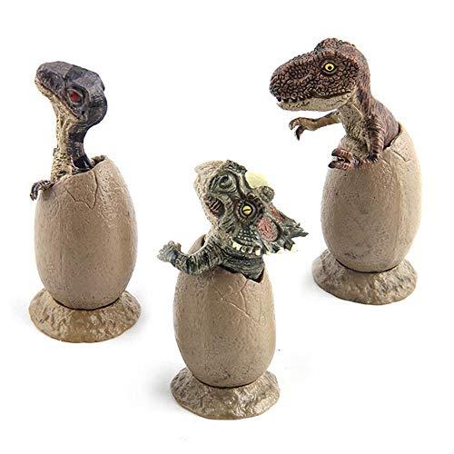 Aqiong Hibeilinq 3 PC/Satz kreativer lustiger Dinosaurier-Ei Tiermodell Figurine Ornamente Fee Garten-Dekoration Accessorie Spielzeug for Kinder Geschenk Bastelmaterial (Size : 3pcs)