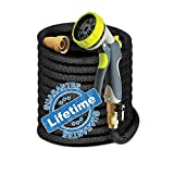 Expandable Garden Watering Hose w/ Spray Nozzle Brass Fitting Flexible No Kink Lightweight Portable Water Hose. Best for Gardening RV accessories (50 ft)