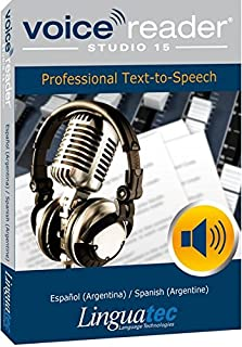 Voice Reader Studio 15 Español (Argentina) / Spanish (Argentine) – Professional Text-to-Speech Software (TTS) for Windows PC / Convert any text into audio / Natural sounding voices / Create high-quality audio files / Large variety of applications / Pronunciation can be customized via user dictionaries / This version contains 1 male voice