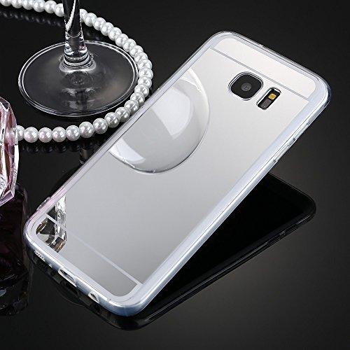 JAWSEU Compatible con Galaxy S7 Edge, funda de espejo de silicona TPU de moda espejo Bling Glitter antiarañazos antigolpes ultra fina cristal suave protector Bumper Case