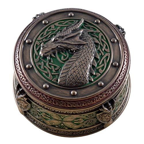 Markenlos Keltische Schmuckdose, Dragon, Drachenkopf Dose rund 9x5cm
