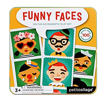 Petit Collage Silly Funny Faces Magnetic On-The-Go Travel Play Set, Multicolor from Petit Collage