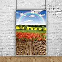 新しい5x7ft春の風景写真の背景赤いケシ畑虹古い木製の床黄色の菜の花畑背景パーティーホリデーガール子大人ポートレートスタジオプロップインテリア