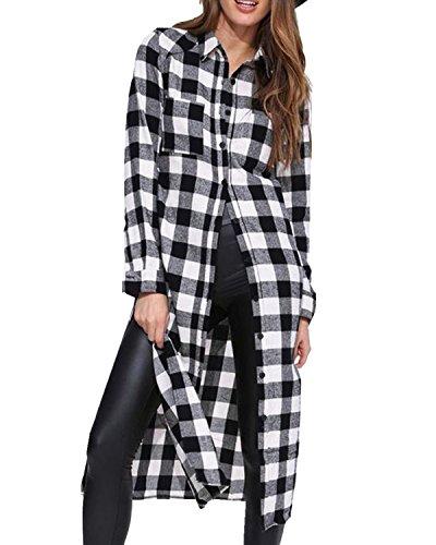 Style Dome Langarmshirt Damen Button Down Kariert Hemdbluse Oversize Locker Tunika Longshirt mit hohem Schlitz Blau-719261 L