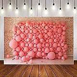 Fondo de fotografía Pared de ladrillo Antiguo Globos Rosados Baby Shower Cumpleaños Niños Photophone Telón de Fondo Estudio fotográfico A1 9x6ft / 2.7x1.8m
