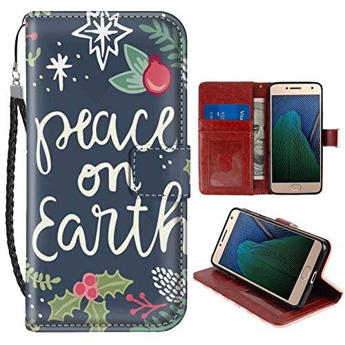 Moto G5 Plus (2017) 5.5 pulgadas Wallet Case Christmas Cotes Peace On Earth para niñas