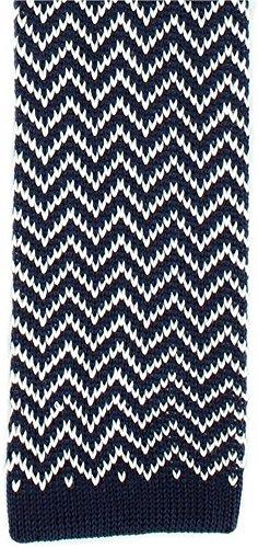 Michelsons of London Marine/Blanc Zig Zag soie tricoté Skinny cravate de