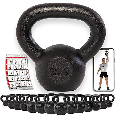 POWRX Kettlebell 2 – 30 kg Guss inkl. Workout | Kugelhantel Schwunghantel Rundgewicht aus Gusseisen (2.00)
