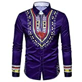IMJONO Mens Shirts Herbst Herbst Casual afrikanischen Print Pullover Langarm T-Shirt Top Bluse(Large,Lila)