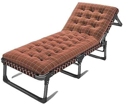 Silla de salón reclinable sillas plegables al aire libre ajustable Sillón Sillón Silla de cubierta con cojín, tumbonas de jardín, para jardín Patio al aire libre Tumbonas Sun Tumbogers Cama Recliner C