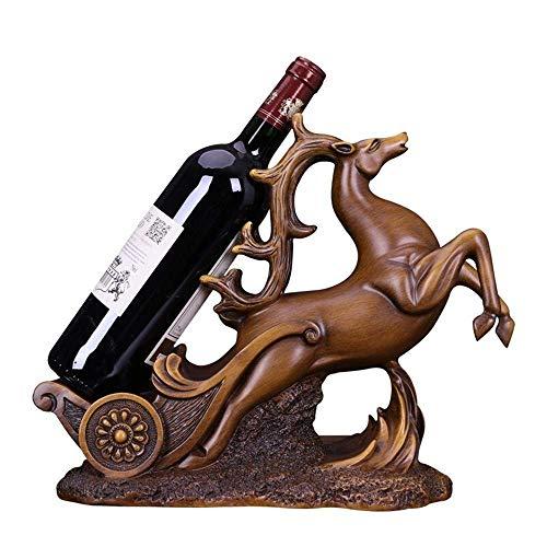 ZUQIEE Estante de vino, estante de vino para vino con ciervos, estante para vino, decoración del hogar, regalos para Navidad (color: marrón, tamaño: talla única)