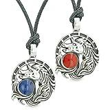 Unicorn Best Friends or Love Couples Amulets Lucky Horse Shoe Red Royal Blue Pendant Adjustable Necklaces