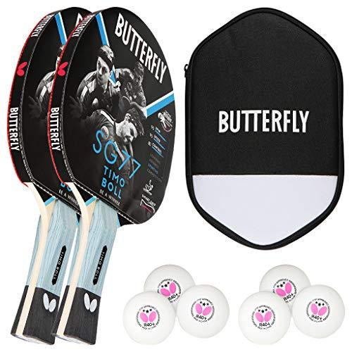 Butterfly Timo Boll - Set di 2 racchette da ping pong SG77 + custodia Cell Case + 2 x 3 * ITTF R40 + palline da ping pong