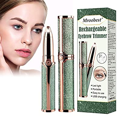 Eyebrow Hair Remover, Electric Eyebrow Trimmer, Mroobest Electric Painless Eyebrow Trimmer for Women, Portable Eyebrow Hair Removal Razor with Light - White from Mroobest
