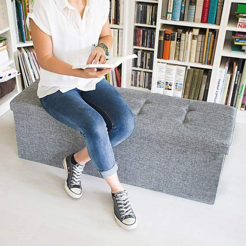 Relaxdays Faltbare Sitzbank XL HBT 38 x 114 x 38 cm stabiler Sitzcube mit praktischer Fußablage als Sitzwürfel aus Leinen als Aufbewahrungsbox mit Stauraum und Deckel zum Abnehmen für Wohnraum, grau - 2