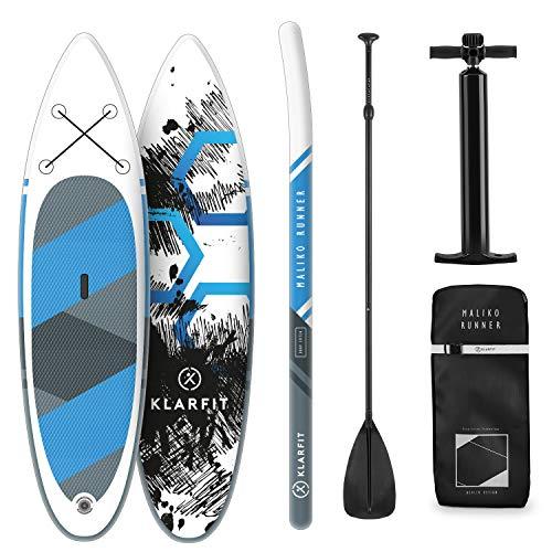 Klarfit Tabla Paddle Surf Hinchable - MALIKO 305x10x77cm Sup Surf, Paddleboard, Bomba de Aire, Pala, Correa de Seguridad, Mochila de Transporte, Kit reparación, Blanco/Azul/Gris, DropStitch
