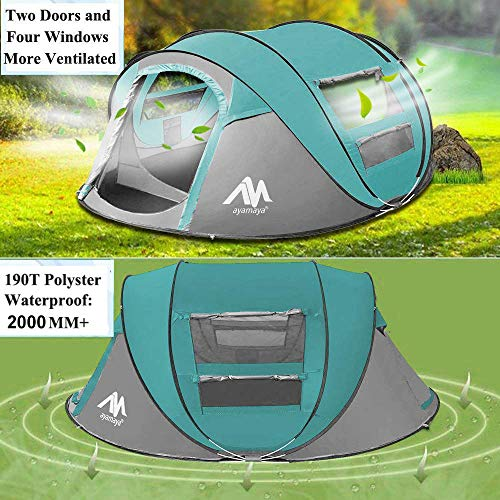 ayamaya Camping Tents 3-4 Person/People Easy Up Instant Setup, Camping Gear Waterproof 2 Doors Privacy Automatic Pop Up Big Family Dome Tent Shelter for Men Women Adults - Light Blue