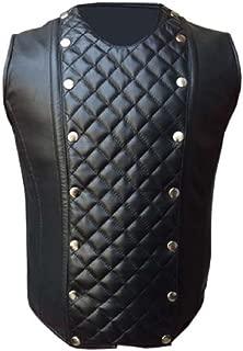 Mens Real Sheep Black Leather Steel Boned Victorian Corset LARP Steampunk Goth