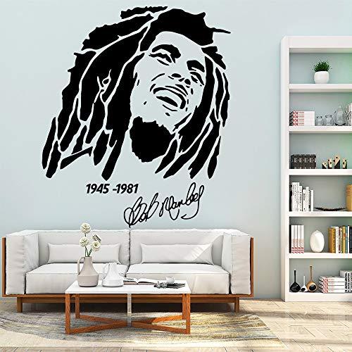 Reggae Music Bob Marley Singer Star One Love Smile Retrato Firma Etiqueta de la pared Vinilo Calcomanía para automóviles Ventiladores Dormitorio Sala de estar Club Studio Decoración para el hogar