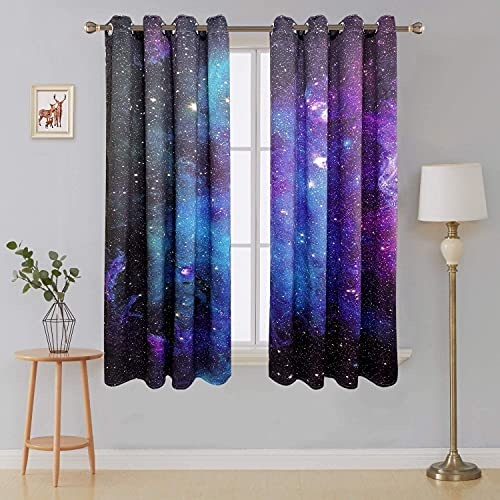 Riyidecor Outer Space Blackout Curtains Galaxy (2 Panels 29 x 63 Inch) Universe Blue Black Psychedelic Planet Nebula Starry Sky Living Room Bedroom Window Drapes Treatment Fabric WW-CLLE