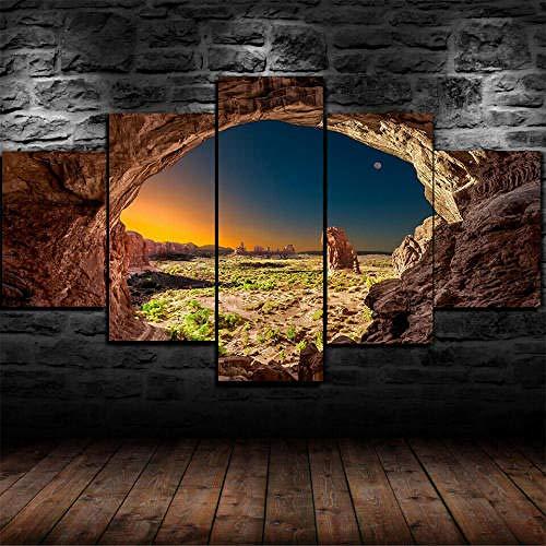 Cuadro Sobre Lienzo 5 Piezas Impresión En Lienzo Ancho: 150Cm, Altura: 100Cm Listo Para Colgar-Parque Nacional Sandstone Arches Utah En Un Marco
