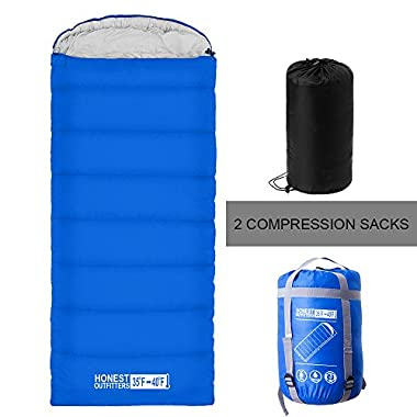 HONEST OUTFITTERS Sleeping Bag with Compression Sack, Envelope Portable and Lightweight for 3-4 Season Camping, Hicking, Traveling, Backpacking and Outdoor Activities Royal Blue (SINGLE)