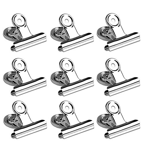 Magnetic Clips 2 inch Heavy Duty Magnet Metal Clips for Refrigerator 10 Pack Strong Magnet Clips for Cruise Cabins Whiteboard Fridge Classroom