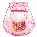 SKL Piscina de bolas para niños Tienda Princess Play Pozo de bola emergente plegable para niños (BBP-11, rosa, 47 * 35 pulgadas)