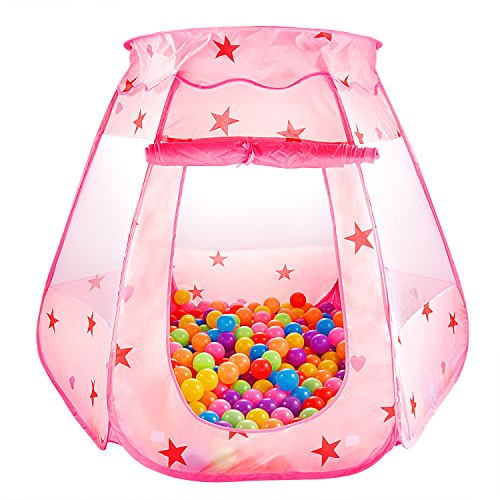 "S.K.L Kids Princess Play Tent Foldable Popup Balls House for Children Indoor and Outdoor(balls not included), 47"" L x 35"" H, Pink"