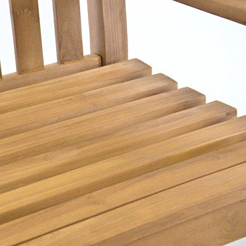 Nexos DIVERO Gartenstuhl massiv Teak Holz Landhaus rustikaler Gartensessel Armlehne