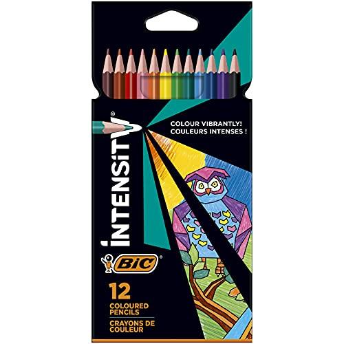 BIC Intensity Triangle Lápices de Colores, Mina de 1,3mm, Resina sin Madera, Resistente a los Golpes - Varios Colores, Pack de12
