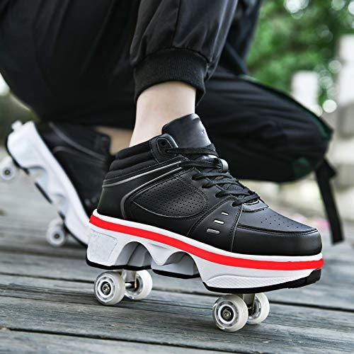 XRDSHY Patines De Ruedas para Niños Zapatos Deportivos LED para Niños Niñas Zapatos con Ruedas Zapatos Multiusos 2 En 1,Black High Top-EU38