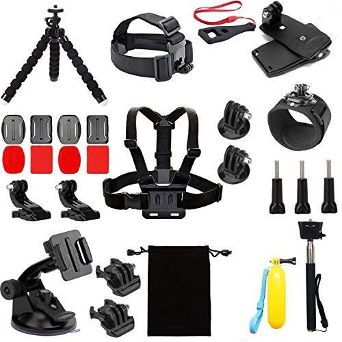 Linghuang Kit d'accessoires pour caméra Action pour AKASO EK5000 EK7000 4K, Brave 4/5, V50 Pro, Accessoires de caméra d'action pour Gopro Hero 7/6 et DJI Osmo Action