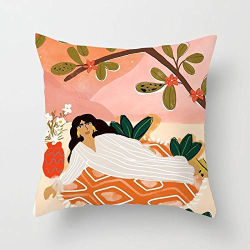 GYYbling Funda de Almohada Pintura al óleo para Mujer Funda de Almohada con Tiro de Flores Patrón Inspirado en Matisse Sofá en casa Silla Funda de cojín Decorativa Funda de Almohada A4 45x45cm 1pc