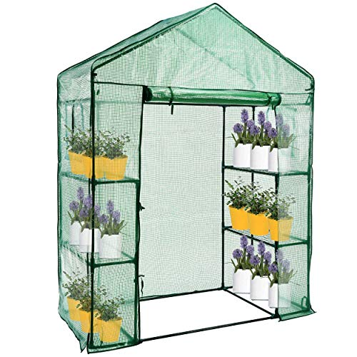 SUNGIFT Walk-in Greenhouse for Outdoors, 3 Tiers 4 Shelves, 61 x 28 x 79 Inch, with Observation Windows and Roll-up Door Zipper, PE Cover for Plants, Herbs, Flowers