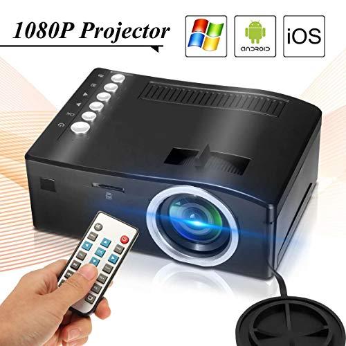 QFTFX Tragbarer Videoprojektor Full HD 1080P Heimkino-Beamer Preiswerter Proyector mit HDMI AV SD VGA (Color : Black)